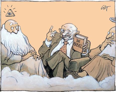 Ranickeho karikatúra v denníku NZZ